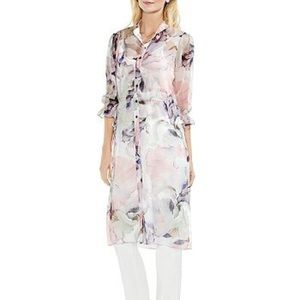 Vince Camuto sheer floral print tunic women's